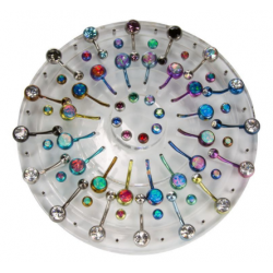 32 Piece Round Tiered Acrylic Display for Belly Button Rings